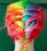 dyed hair french braid