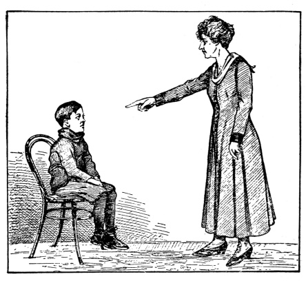 scolding boy and woman