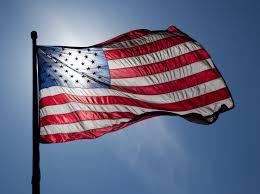 American flag backlit