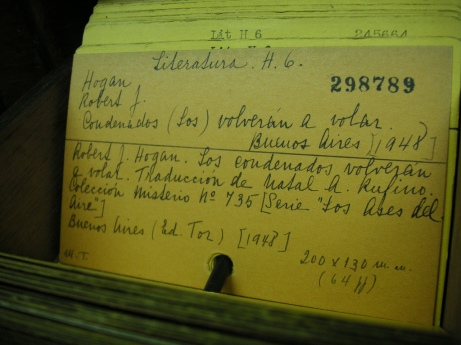 catalog card--hand written