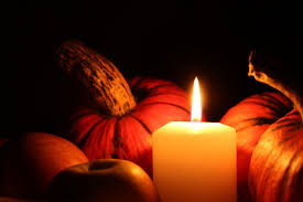 candle ligth and pumpkin