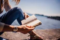 reading book ocean