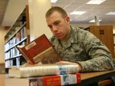 reading book soldier