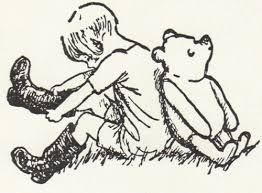 Wiinie the pooh and christopher robin pulling on boots