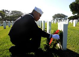 Wreaths across America--sailor at Ft Rosecrans