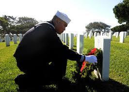 Wreaths across America--sailor at Ft Rosecrans