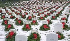 Wreaths across America--snow