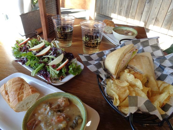 Bold Rock--Ciders, Potatoe-Sausage Soup, Smoked Turkey Panini with Chips, Side Salad