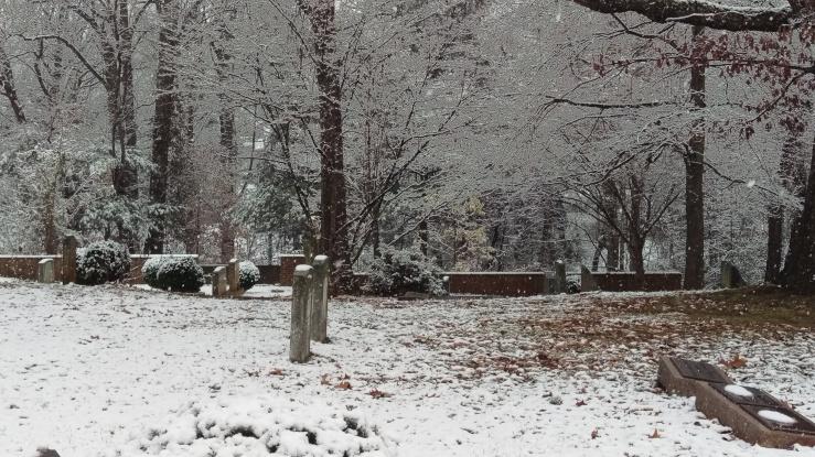 snowy church yard