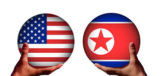 North Korean and U.S. flags
