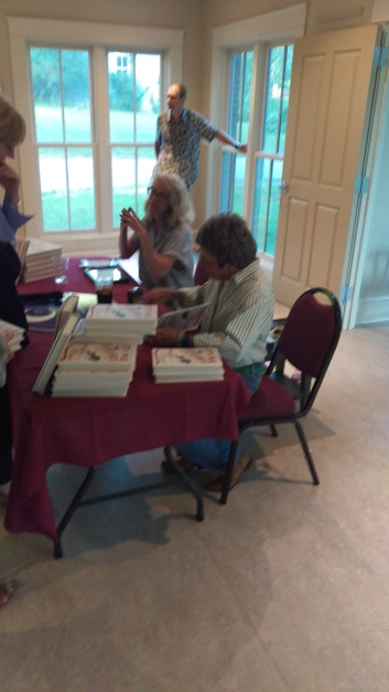 Rita Mae Brown and Over the Moon Book Store owner Anne de Vault at RMB Book Signing Tabor Presbyterian Church social hall 20180718.jpg