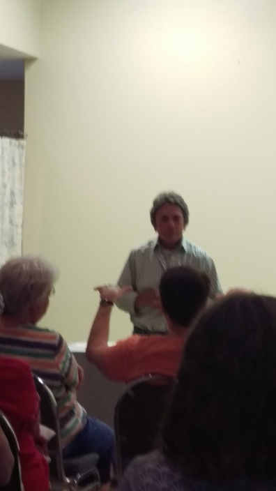 Rita Mae Brown talking to the audience at the Tabor Presbyterian Church social hall 20180718.jpg