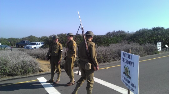 open bunker day re-enactors set up a military checkpont at cabrillo
