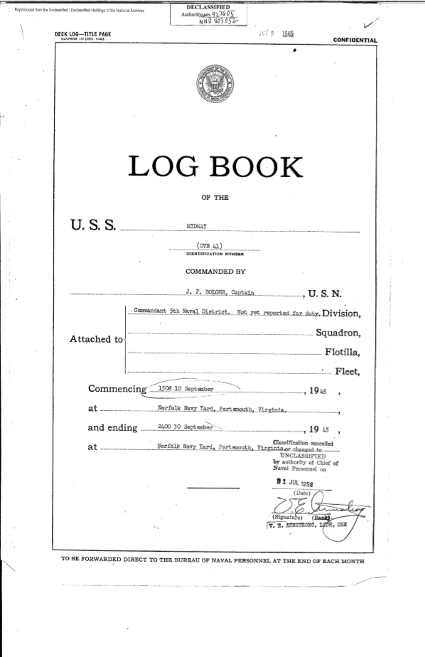 USS Midway September 1945 deck log