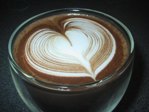 hot chocolate with a heart