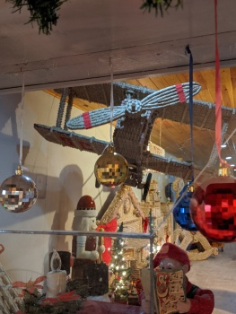 cork sculpture--biplane from the front--grey ghost