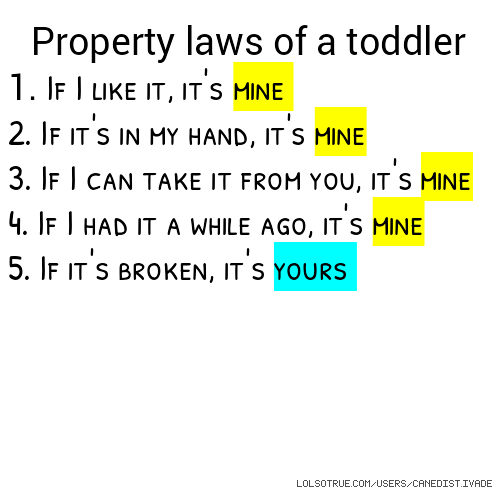 Property Laws of a Toddler