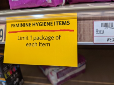 feminine hygiene items rationed