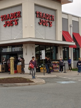 Trader Joe's Waiting in Line and Getting Instructions