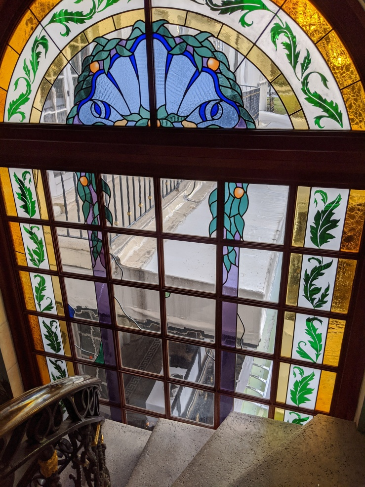 Stained glass window at the Versace Mansion