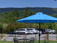 blue mountain with umbrella