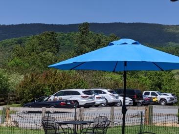 blue mountain with umbrella