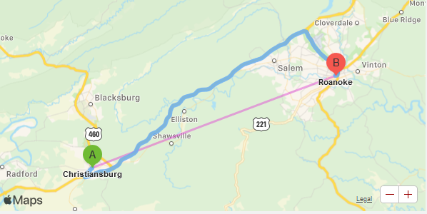 Christiansburg to Roanoke