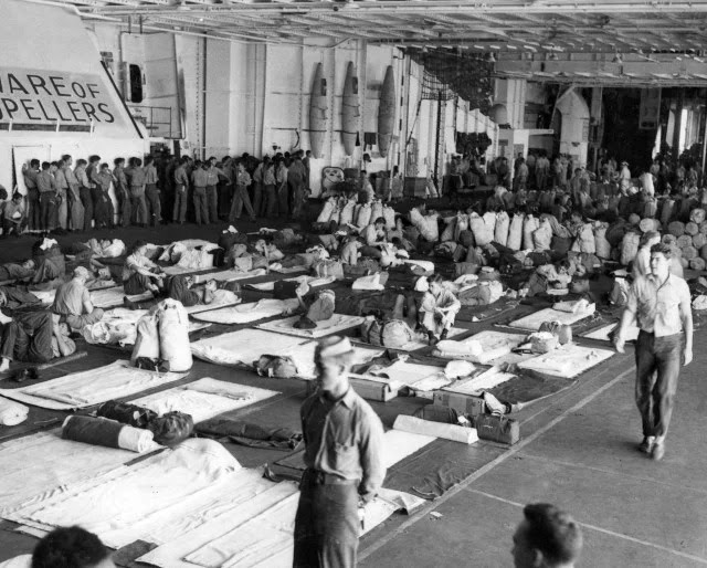 Hangar of the USS Wasp during the operation