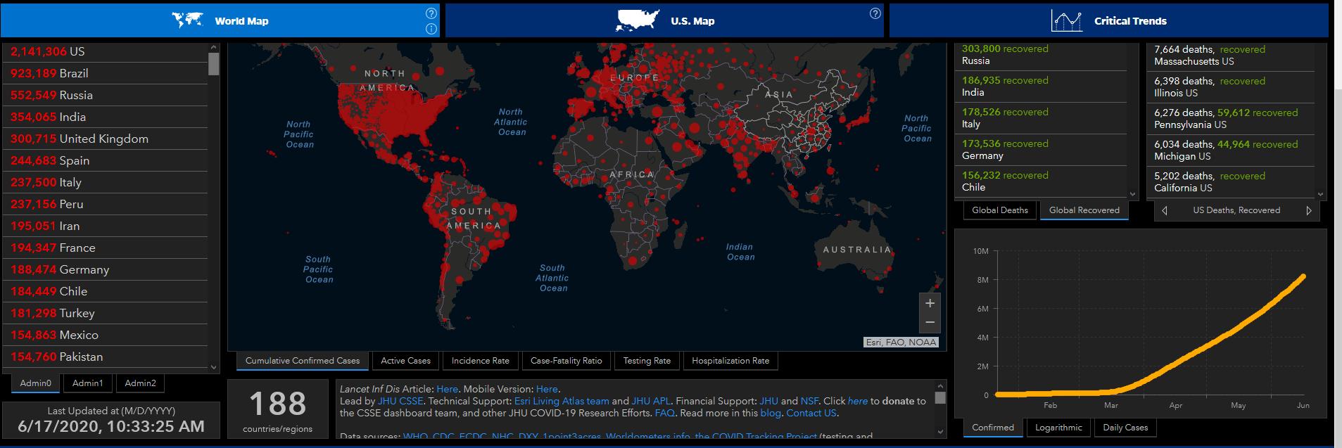 John Hopkins Map 20200617