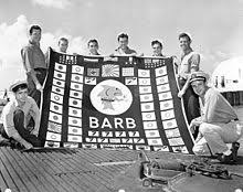 USS Barb with flag of sinkings