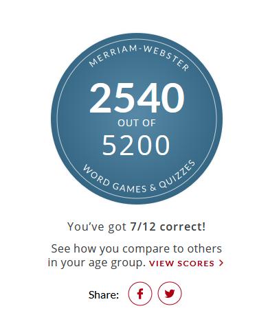 Merriam Webster Animal Quiz results