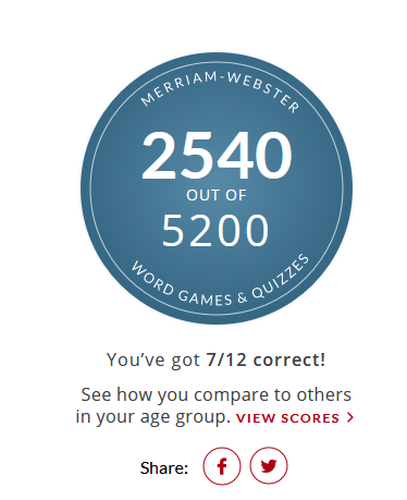 Merriam Webster Animal Quiz results